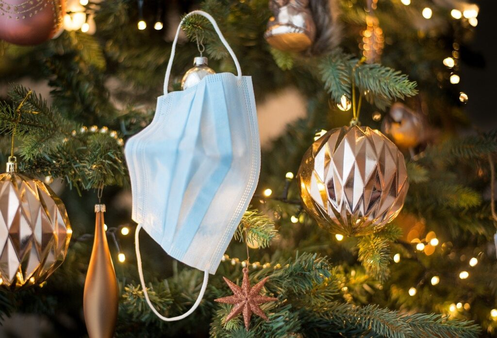face mask, tree, ornament